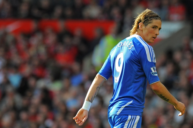 Chelsea's Spanish striker Fernando Torres looks on during the English Premier League football match between Manchester United and Chelsea at Old Trafford in Manchester, north-west England on September 18, 2011. AFP PHOTO/ANDREW YATES  RESTRICTED TO EDITORIAL USE. No use with unauthorized audio, video, data, fixture lists, club/league logos or ?live? services. Online in-match use limited to 45 images, no video emulation. No use in betting, games or single club/league/player publications (Photo credit should read ANDREW YATES/AFP/Getty Images)